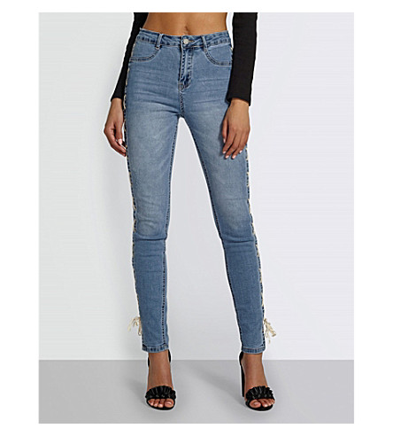 MISSGUIDED High-rise skinny tie-up jeans (Blue