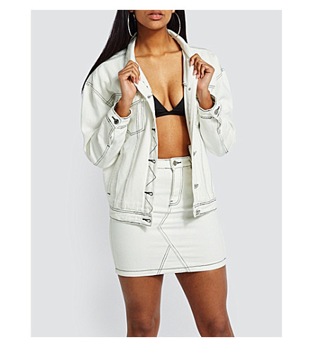 MISSGUIDED Contrast-stitch denim jacket (White