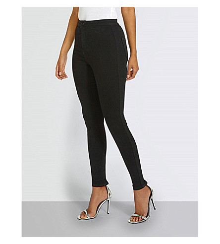 MISSGUIDED Zip-detail skinny high-rise jeans (Black