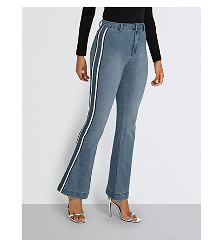 MISSGUIDED Striped-panel skinny high-rise jeans (Light+blue
