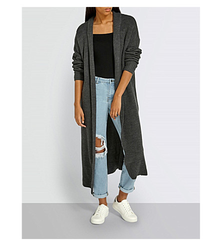 MISSGUIDED Ribbed knitted maxi cardigan (Charcoal