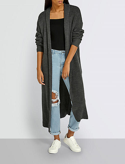 MISSGUIDED Ribbed knitted maxi cardigan