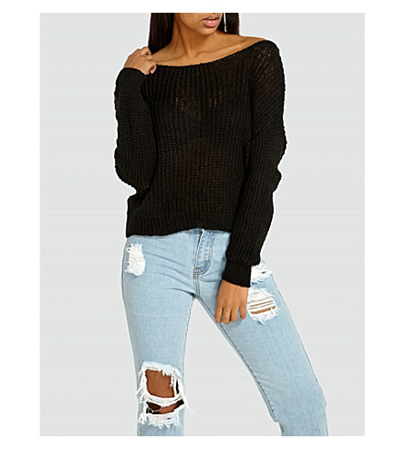 MISSGUIDED Twisted-detail knitted jumper (Black