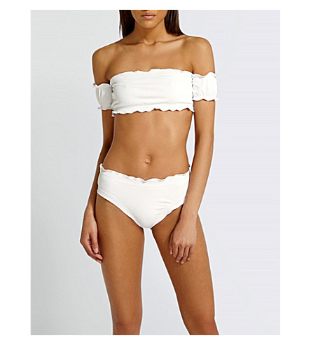MISSGUIDED Off-the-shoulder ribbed bikini (White