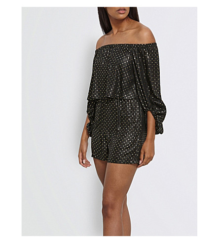 MISSGUIDED Polka-dot satin playsuit (Black