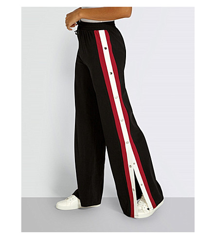 MISSGUIDED Contrasting stripe-panel jersey trousers (Black