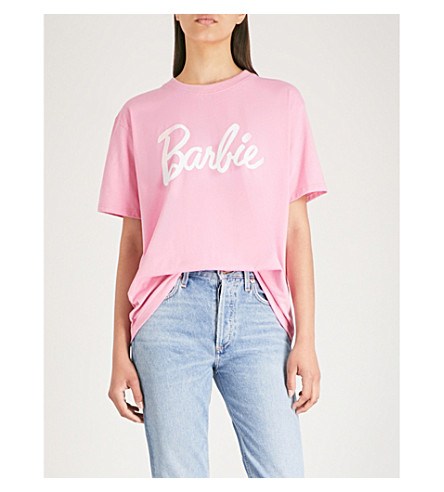 MISSGUIDED Missguided x Barbie stretch-jersey T-shirt (Pink
