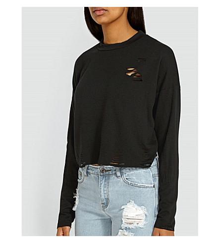 MISSGUIDED Distressed jersey sweatshirt (Black