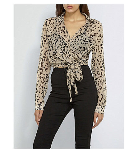 MISSGUIDED Leaf-print cropped chiffon blouse (Print