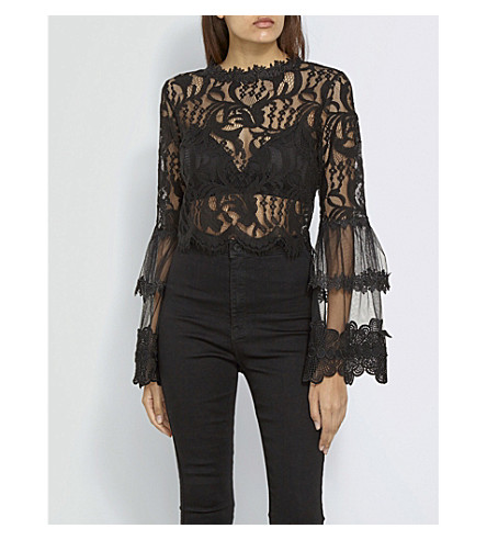 MISSGUIDED Flare-sleeve mesh top (Black