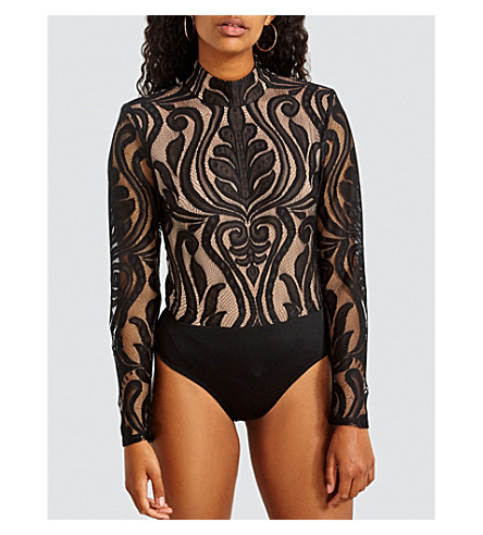 MISSGUIDED High-neck lace baroque body (Black