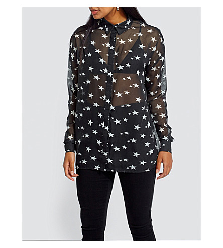 MISSGUIDED Star-print crepe shirt (Black