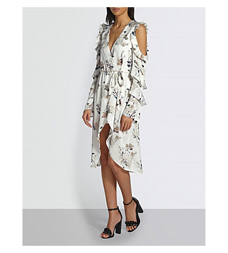 MISSGUIDED Floral-pattern satin-crepe dress (White