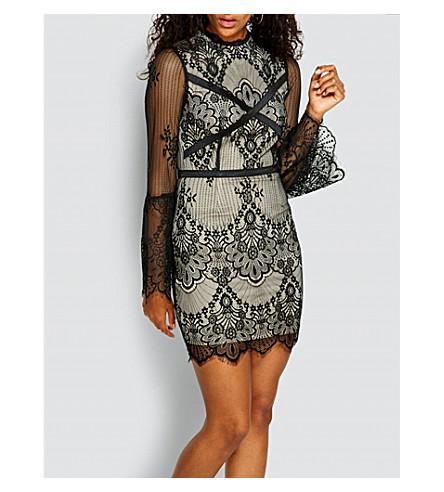 MISSGUIDED High-neck floral-lace mini dress (Black