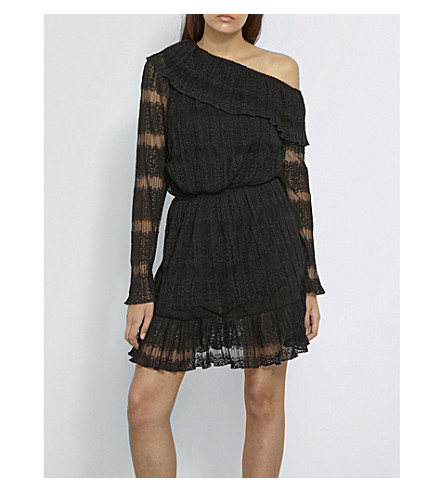 MISSGUIDED Flared lace dress (Black