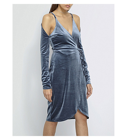 MISSGUIDED Cold-shoulder velvet wrap dress (Blue