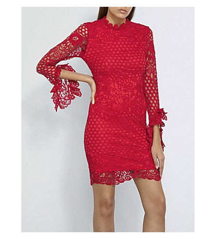 MISSGUIDED Floral-lace mini dress (Red