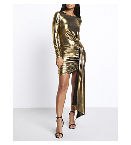 MISSGUIDED Ruched stertch-crepe mini dress (Gold