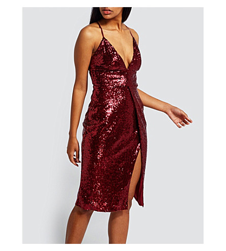 MISSGUIDED Strappy sequinned dress (Red