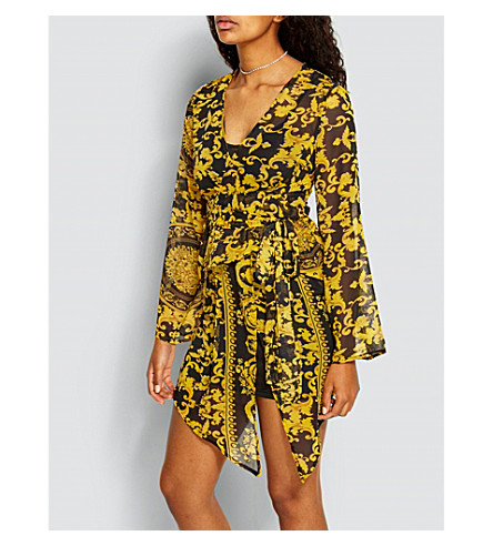 MISSGUIDED Printed wrap-effect chiffon dress (Yellow