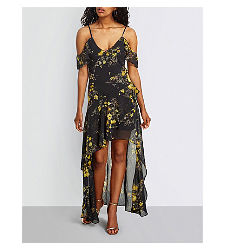 MISSGUIDED Cold-shoulder floral-print chiffon maxi dress (Black
