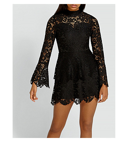 MISSGUIDED High-neck guipure-lace dress (Black