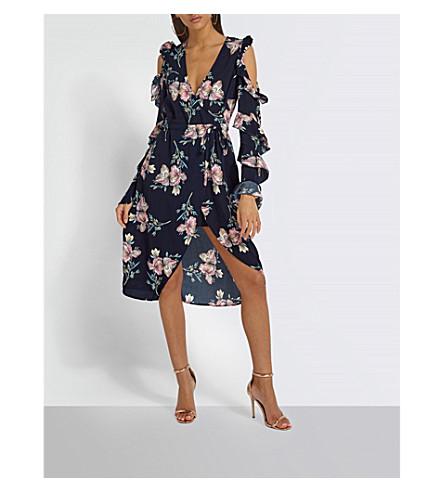 MISSGUIDED Floral-print cold-shoulder woven wrap dress (Multi