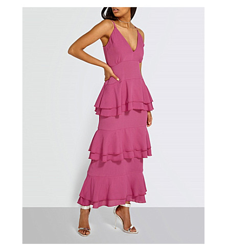 MISSGUIDED Tiered crepe maxi dress (Pink