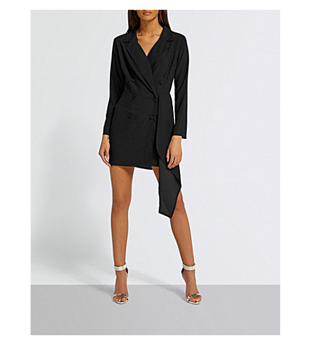MISSGUIDED Double-breasted woven blazer dress (Black