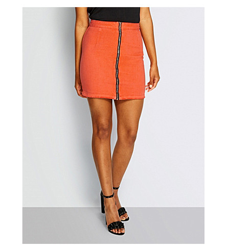MISSGUIDED Zip-front denim mini skirt (Orange
