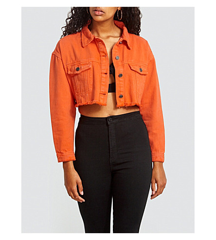 6f8a20348cb94 ... MISSGUIDED Distressed cropped denim jacket (Orange. PreviousNext