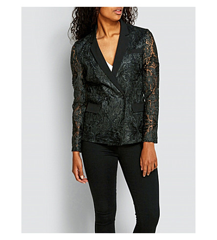 MISSGUIDED Embroidered brocade lace blazer (Black