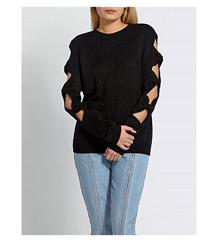 MISSGUIDED Bow sleeve knitted jumper (Black