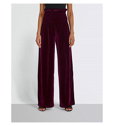MISSGUIDED High-rise velvet trousers (Burgundy
