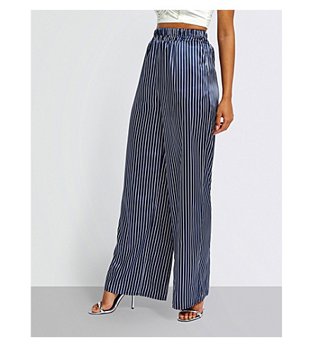 MISSGUIDED Wide-leg striped satin trousers (Navy