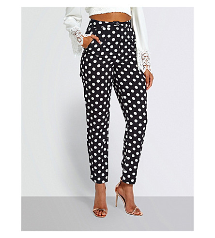 MISSGUIDED Polka dot-print woven trousers (Black