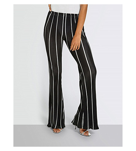 MISSGUIDED Striped woven plisse trousers (Black