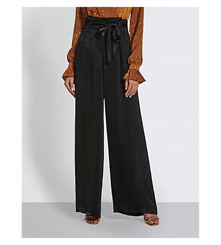MISSGUIDED High-rise satin trousers (Black