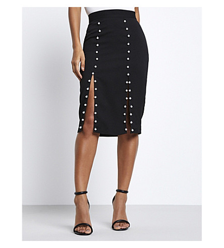 MISSGUIDED Pearl-embroidered stretch midi skirt (Black