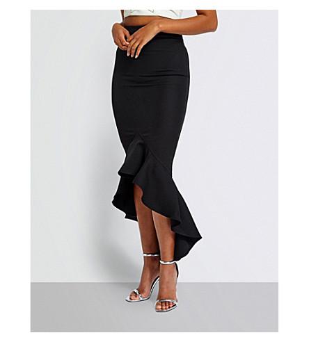 MISSGUIDED Fluted-hem maxi skirt (Black