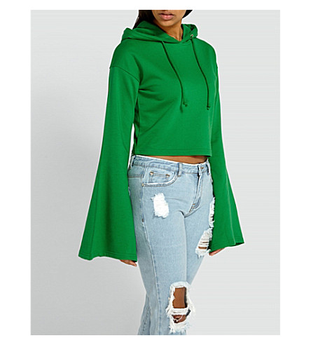MISSGUIDED Flared-sleeve cotton-blend hoody (Green