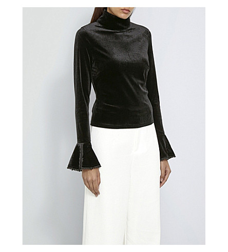 MISSGUIDED Flared-cuff velvet top (Black