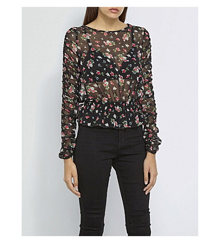 MISSGUIDED Sheer floral chiffon top (Black