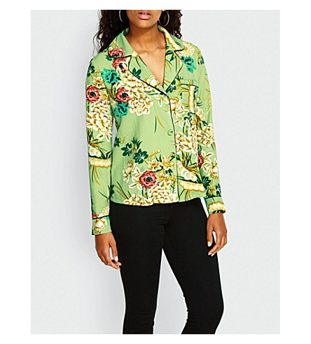 MISSGUIDED Floral-print crepe shirt (Mint