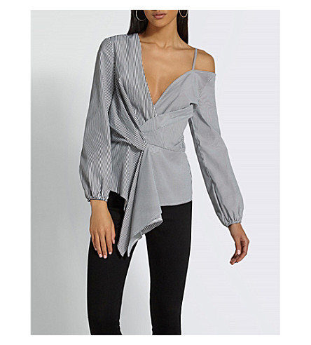 MISSGUIDED Striped cold-shoulder woven shirt (Grey