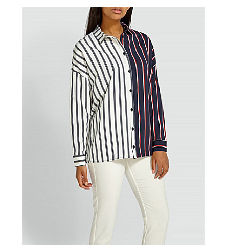 MISSGUIDED Striped crepe shirt (White