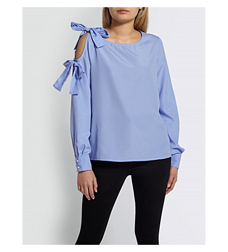MISSGUIDED Cold-shoudler cotton blouse (Blue