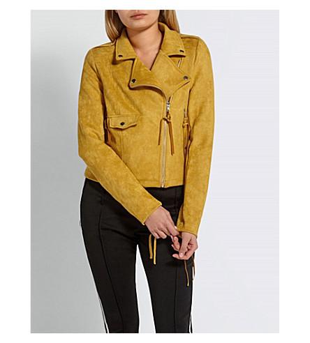 MISSGUIDED Faux-suede biker jacket (Mustard
