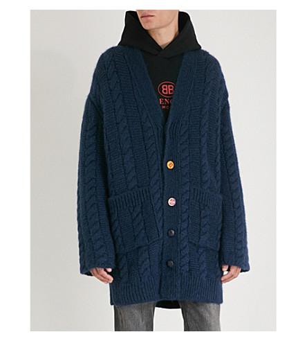 BALENCIAGA Oversized knitted cardigan (Marine