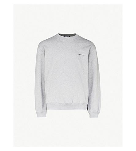 BALENCIAGA Logo-printed cotton-jersey sweatshirt (Heather+grey